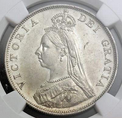 1887, Great Britain. Large Silver Double Florin (4 Shillings) Coin. NGC MS-62!