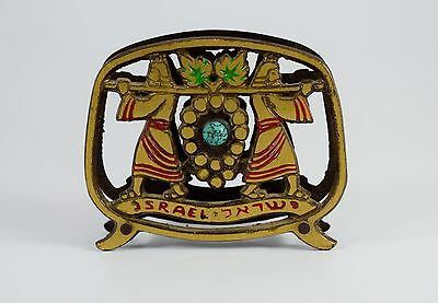 Vintage ISRAEL JUDAICA Brass Letter/Napkin Holder, Spies with Cluster of Grapes