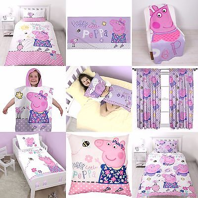 "PEPPA PIG ""HAPPY"" DESIGN KIDS GIRLS BEDROOMS ACCESSORIES - Choose 1 or More"