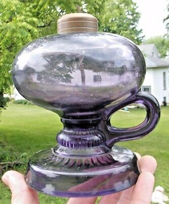 Very Nice Purple Glass Finger Lamp W/fancy Base 1910's Era Clean Decorative L@@k