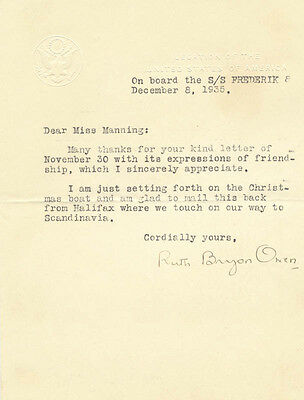 Ruth Bryan Owen - Typed Letter Signed 12/08/1935