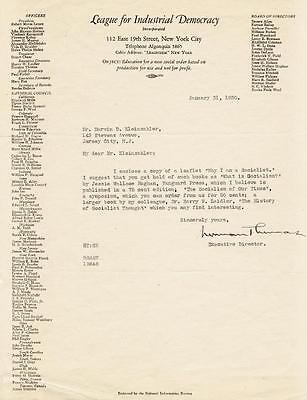 Norman Thomas - Typed Letter Signed 01/31/1930