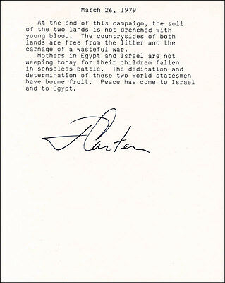 "James E. ""Jimmy"" Carter - Typed Quotation Signed Circa 1979"