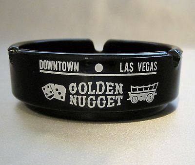 Vtg. GOLDEN NUGGET CASINO BLACK GLASS ASHTRAY~Downtown Las Vegas Gambling Hall