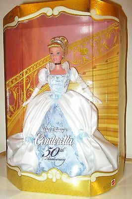 New Disney Cinderella 50th Anniversary Barbie Collector Doll Blue White Satin