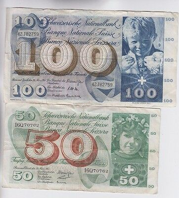 Switzerland Paper Money two old notes fine