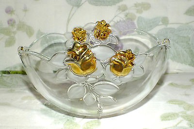 MIKASA GUILDED ROSE CRYSTAL BOWL gold roses UNUSED with sticker