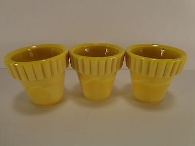 """Akro Agate Slag Glass 3 Miniature 1 3/4"""" Ribbed Top Yellow Flower Pots #291 Hole"""