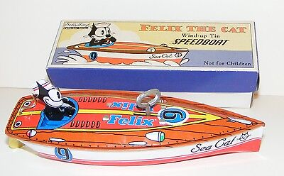 Schylling ~ FELIX The CAT Wind-up Speed Boat ~ Tin Lithograph ~ Limited Edition