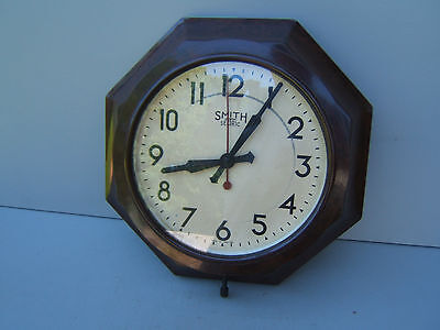 "Smiths Bakelite wall clock octagonal 12""x 3""(30x7.5cm) electric UNTESTED  Bak6"