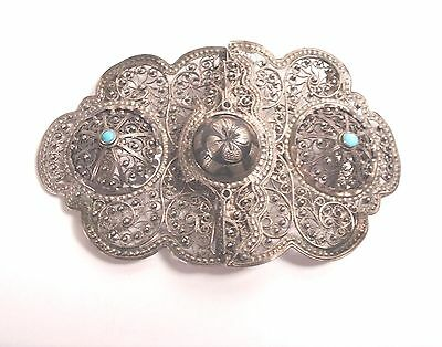 Antique Russian Enamel Silver Belt Buckle Filigree Turquoise 1850-1880 Signed IH