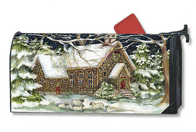 Village Church Snow Mail Box Wrap winter magnetic mailwrap mailbox cover