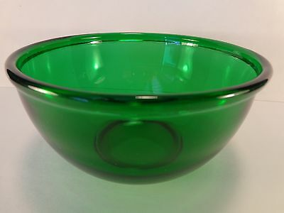 "Forest Green Beaded Edge Rim 6"" Mixing Bowl Anchor Hocking Glass 1950-1965"