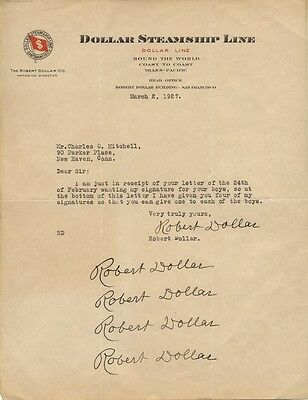 Robert Dollar - Typed Letter Multi-Signed 03/02/1927