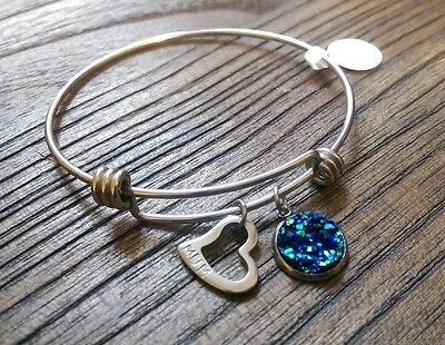 Stainless Steel Silver Faux Druzy & Heart Charm Bangle Adjustable Blue