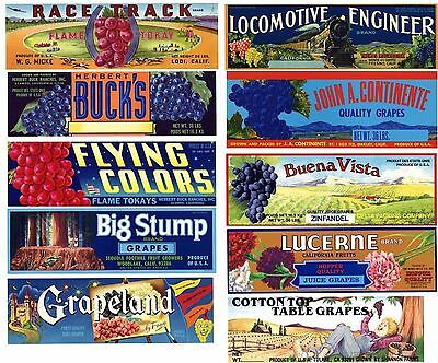 Collection of 10 Different Grape Box Labels **ORIGINAL FRUIT CRATE LABELS**