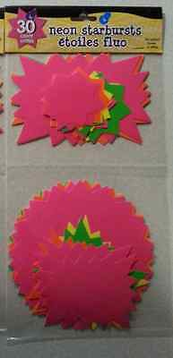 Lot of 30 Neon Starburst Bright Sign Tags Price Sale - New Garage, Rummage, Yard