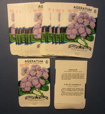 Wholesale Lot of 25 Old Vintage AGERATUM Imperial Blue Flower SEED PACKETS EMPTY