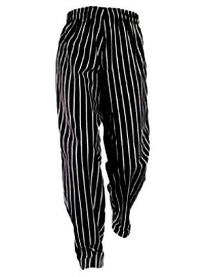 Chef Pants Black White Stripe 5XL Elastic with Drawstring Waist Chef Designs New