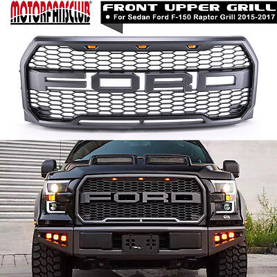 2015-2017 Ford F150 Raptor Style Replacement Part ABS Front Bumper Grille W/ LED