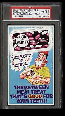 1969 Topps Wacky Packages Ads #25 Good And Empty PSA Graded