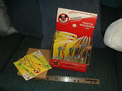 1950s Mickey Mouse Club FULL Box of Tooth Brushes Unopened Walt Disney