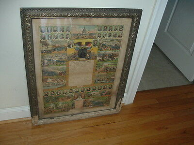 1875 G.A.R. and War Record for Peter Bear Civil War Union Soldier Framed