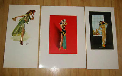Lot of 3 Old Vintage 1950's - ORIENTAL / ASIAN - PINUP Calendar PRINTS