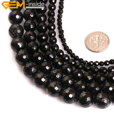 AAA Grade Faceted Genuine Natural Black Tourmaline Stone Beads Jewelry Making
