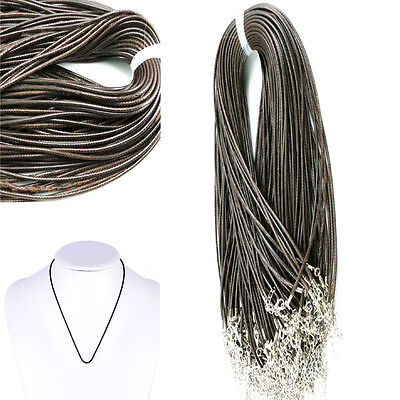 10/100Pcs Wholesale Bulk Lot Brown Cloth Wax Leather String Necklace Cords 2.0mm