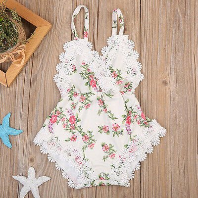 Newborn Baby Girl Lace Romper Bodysuit Christening Clothes Sunsuit Party Outfits