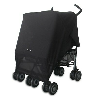 Baby Pram/Buggy/Pushchair UVA/UVB DOUBLE Sun Canopy/Sun and Sleep Shade BLACK