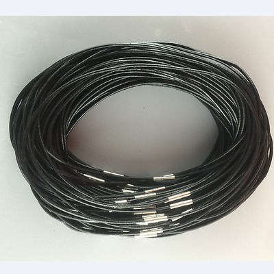 2 mm 20 inch Genuine Leather Cord Stainless Steel Buckle Necklace 10pcs