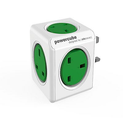 Allocacoc Powercube Original UK Mains Extension Cord Lead Organiser Green New