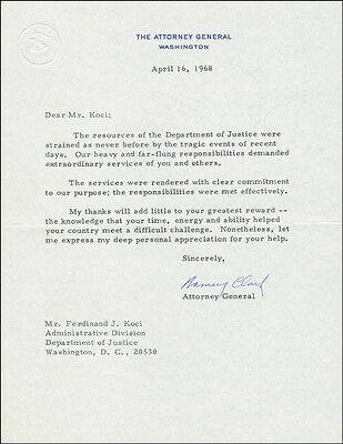 Ramsey Clark - Typed Letter Signed 04/16/1968