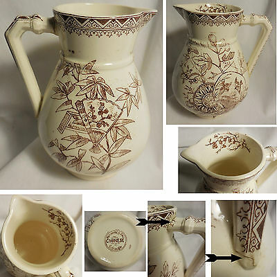FURNIVAL & SONS Cobridge CHINESE Brown Transferware Pitcher Repaired Handle
