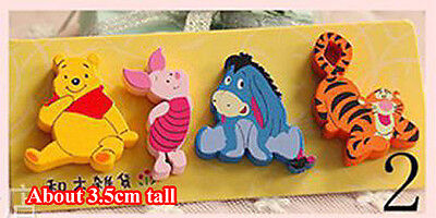 4pcs Small Funny Wooden Fridge Magnet Party Favor Gift Disney Winnie The Pooh