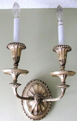 Set of (2) ANTIQUE COLLECTIBLE HOME GARDEN Silver Alloy? SCONCES c1899 ec