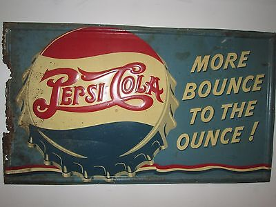 "Vintage Pepsi ""More Bounce To The Ounce"" Double Dot Tin Sign  56-1/2"" x 32-1/2"""