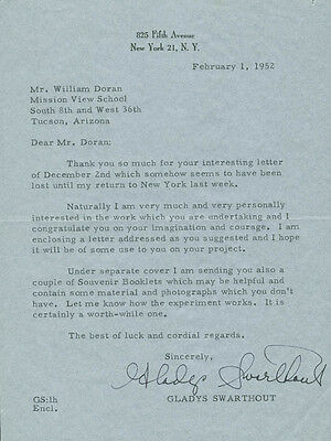 Gladys Swarthout - Typed Letter Signed 02/01/1952