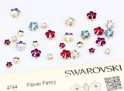 Genuine SWAROVSKI 4744 Flower Fancy Crystals with Sew On Metal Settings
