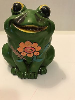 Vintage 60's 70's Hippie Ceramic Frog Bank Green With Flowers Kitschy