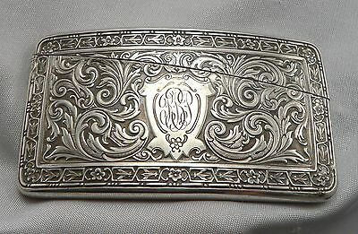 Antique STERLING Silver Curved Calling Card Case Webster Business Vintage SCROLL
