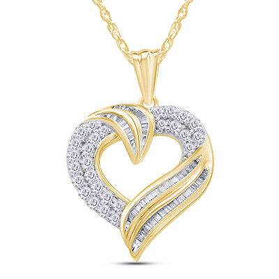 1.00 Ct Round And Baguette Diamond 14K Gold Over Heart Pendant