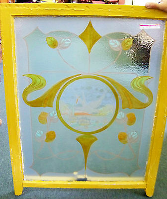 39x30 Old Antique Victorian Hand Painted Art Glass Frost Window Vtg Bird Nouveau