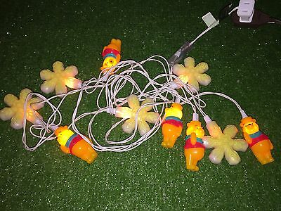 Set Of Ten Christmas Winnie The Pooh and Snowflake Blow Mold Novelty Lights