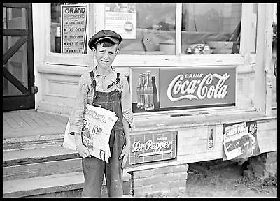 "Old Time Photo, 1938, Young Newsboy, Coca Cola, vintage 18""x13"" print, antique"