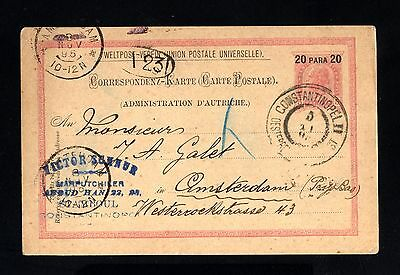 16227-TURKEY-AUSTRIA-OLD POSTCARD CONSTANTINOPLE to AMSTERDAM (holland) 1895.