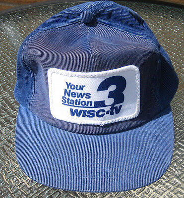 Vintage retro WISC TV News station Wisconsin State trucker Hat Cap Madison patch