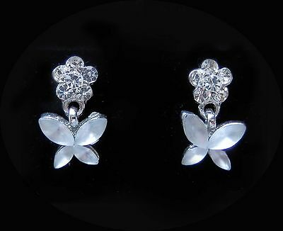 Vintage Flower Earrings with Clear Australia Crystals and Rhinestone E1336